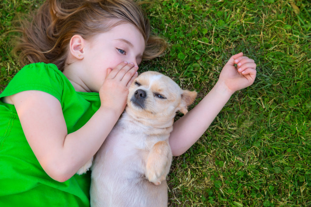 little girl whispers to puppy