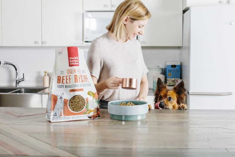 the honest kitchen, grain free beef recipe, woman feeds dog